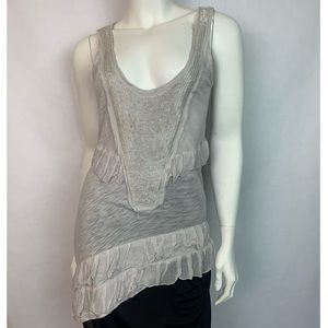Threads 4 Thought Beaded Ruffle Asymmetrical Tank